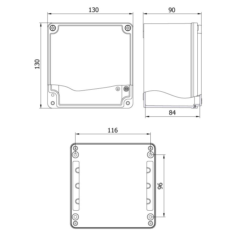aluminyum buat 130 130 90 mm teknik çizim