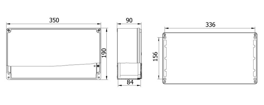 aluminyum buat 190 350 90 mm teknik çizim