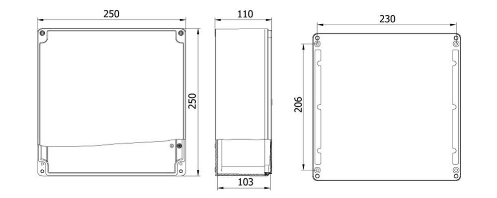 aluminyum buat 250 250 110 mm teknik çizim