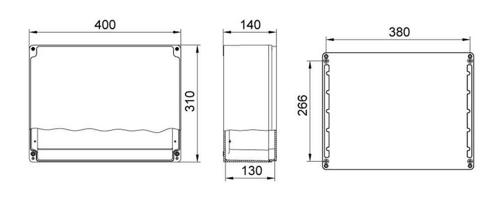 aluminyum buat 310 400 140 mm teknik çizim