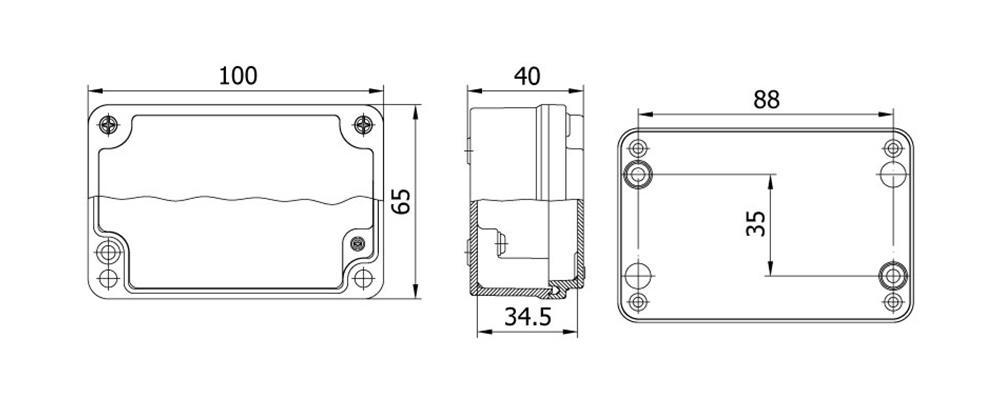 aluminyum buat 80 100 40 mm teknik çizim