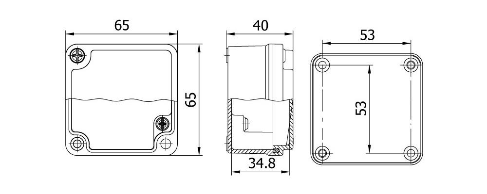 aluminyum buat 65 65 40 mm teknik çizim