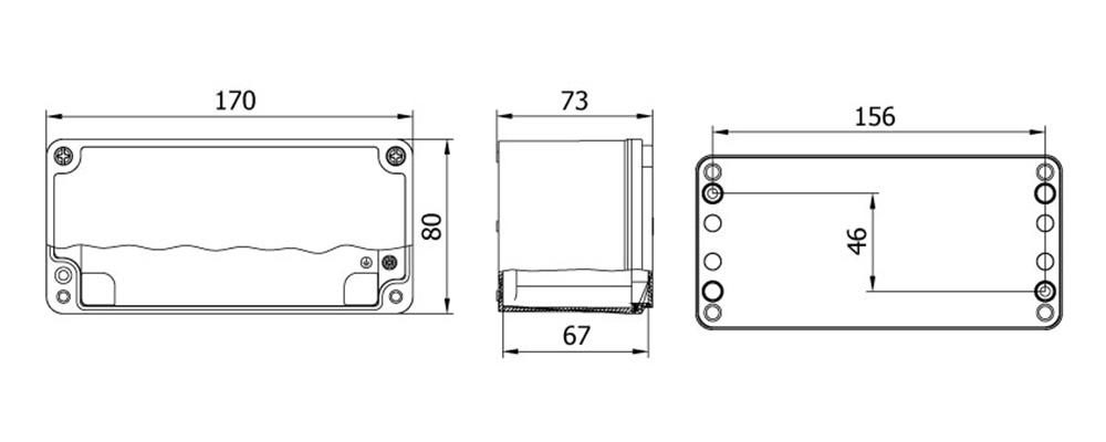 aluminyum buat 80 170 73 mm teknik çizim