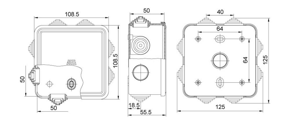 termoplastik buat 100 100 50 mm geçmeli kapak teknik çizim