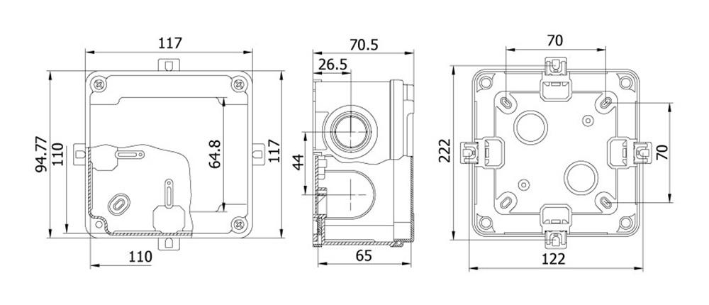 termoplastik buat 110 110 65 mm vidalı kapak teknik çizim