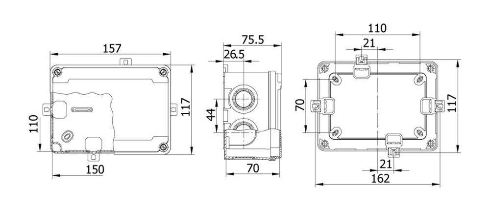 termoplastik buat 110 150 70 mm vidalı kapak teknik çizim