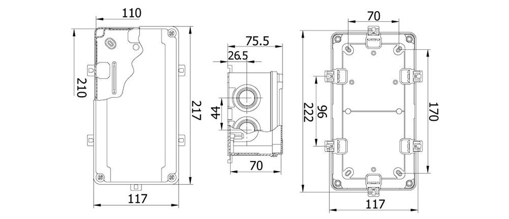 termoplastik buat 110 210 70 mm vidalı kapak teknik çizim