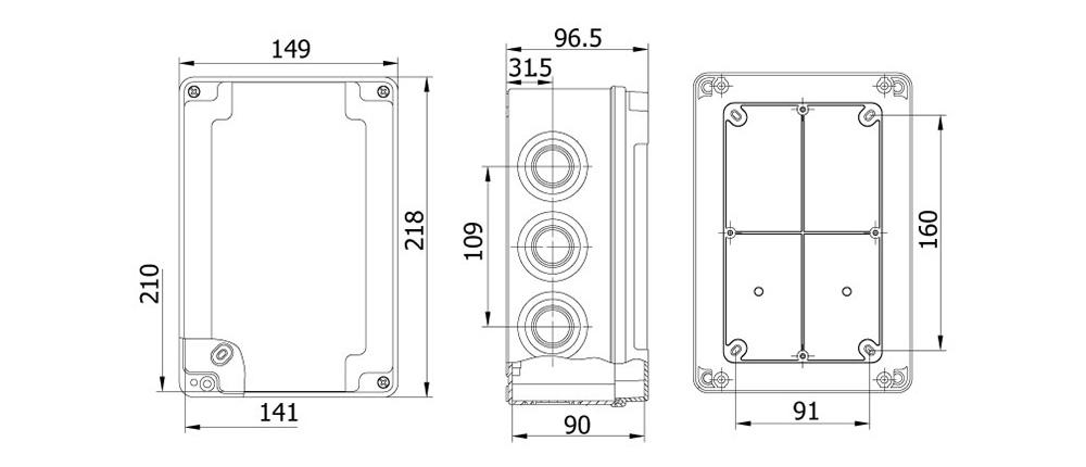 termoplastik buat 140 210 90 mm vidalı kapak teknik çizim