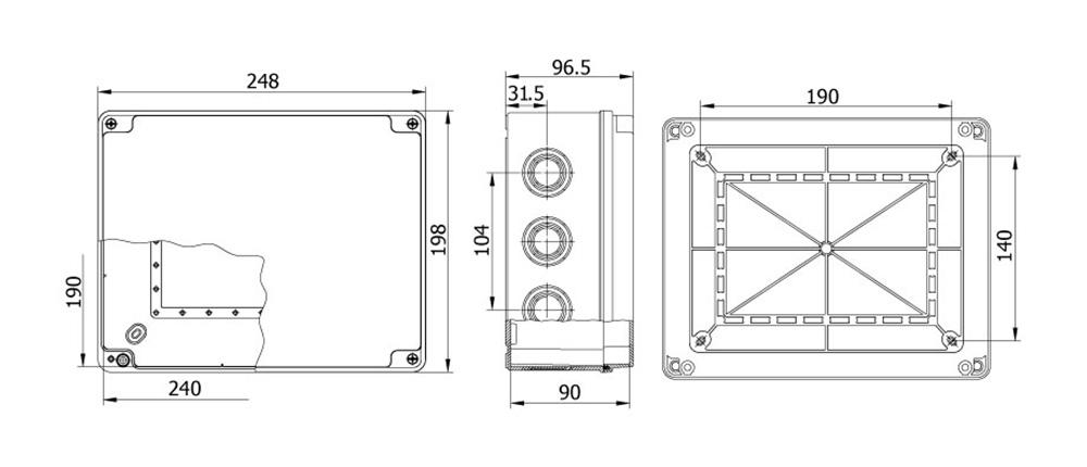 termoplastik buat 190 240 90 mm vidalı kapak teknik çizim