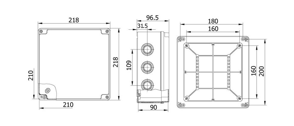 termoplastik buat 210 210 90 mm vidalı kapak teknik çizim