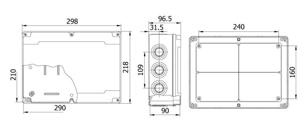 termoplastik buat 210 290 90 mm vidalı kapak teknik çizim