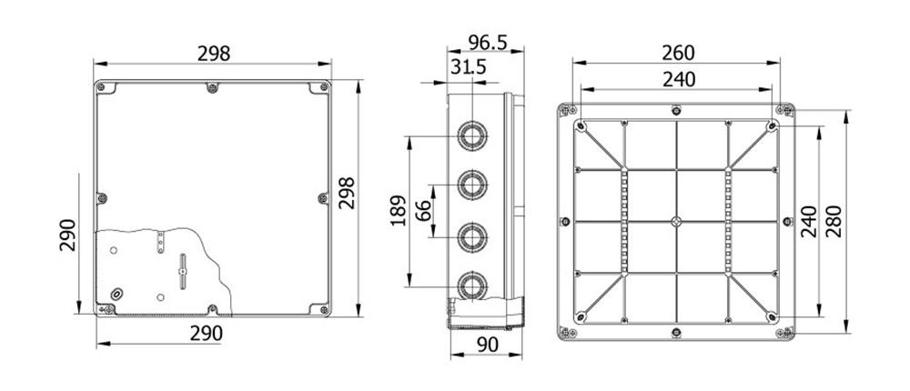 termoplastik buat 290 290 90 mm vidalı kapak teknik çizim
