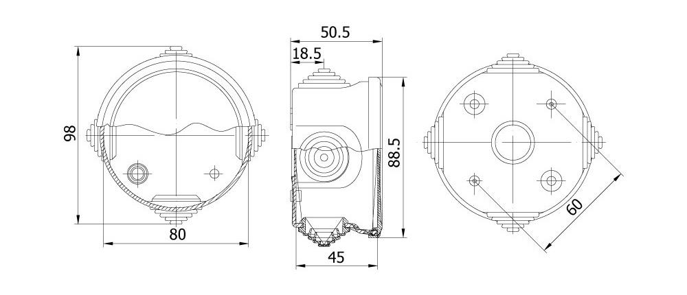 termoplastik buat 80 45 mm geçmeli kapak teknik çizim