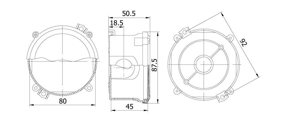 termoplastik buat 80 45 mm vidali kapak teknik çizim