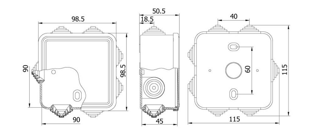 termoplastik buat 90 90 45 mm geçmeli kapak teknik çizim