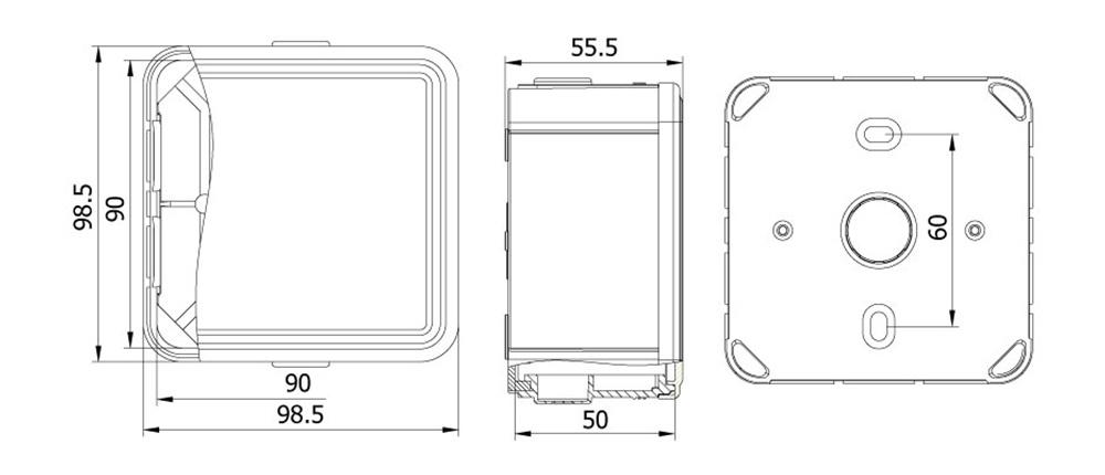termoplastik buat 90 90 50 mm geçmeli kapak teknik çizim